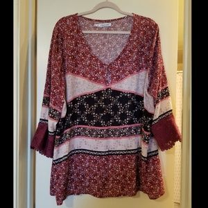 Maurices Plus Pink Patchwork Floral Blouse 2X